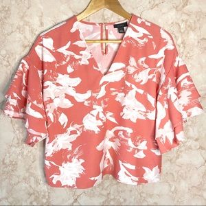 Halogen Salmon and White Floral Bell Sleeve Blouse
